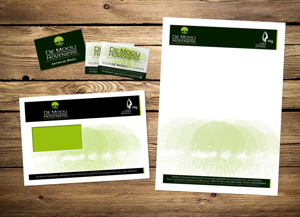 visitekaartjes enveloppen en briefpapier huisstijl